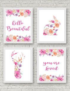 Hola hermosa, usted es amó - Set de 4 grabados - Acuarela, bosque de viveros, Shabby Chic, florales Animal, arte de la pared, habitación de bebé niña