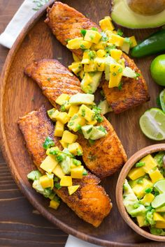 CHILI LIME SALMON WITH AVOCADO MANGO SALSA