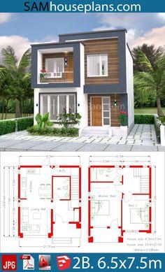 Home Design Plan 2 Bedrooms - SamPhoas Plan Simple House Plans, Simple House Design, Tiny House Plans, The Plan, How To Plan, 2 Bedroom House Plans, Model House Plan, Bungalow House Design, Model Homes
