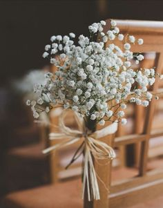 Homemade Pink Green Wedding Baby Breath Chair Flowers www. Homemade Pink Green Wedding Baby Breath Chair Flowers www. Wedding Ceremony Chairs, Wedding Chair Decorations, Wedding Centerpieces, Wedding Bouquets, Flowers Decoration, Church Decorations, Homemade Wedding Decorations, Gypsophila Wedding, Ceremony Seating