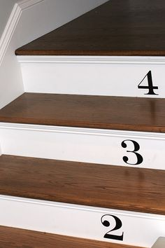 Vinyl Stair Numbers Came From Etsy And Took My Honeydo About 30 Minutes To  Apply.