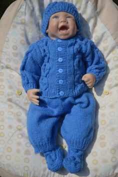 Irish Knit Sweater and Pants Set to fit 0-3 month Baby or 22 inch Reborn Baby Doll in Blue  Ready to Ship Now