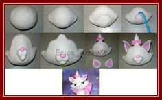 DIY fimo / clay / fondant little Marie from Aristocats by lana Diy Fimo, Fimo Clay, Polymer Clay Projects, Clay Crafts, Cat Cake Topper, Fondant Toppers, Fondant Cupcakes, Making Fondant, Fondant Animals