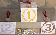 Use these free printable winner podium signs for an Olympic birthday party or any other sporting event. The three winners podiums don't have to be elaborate. Olympic Idea, Olympic Games, Kids Olympics, Winter Olympics, Senior Olympics, Office Olympics, Special Olympics, Tokyo Olympics, Manualidades