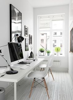 Creative Home Office Design Ideas. Thus, the need for home offices.Whether you are intending on including a home office or remodeling an old space right into one, here are some brilliant home office design ideas to help you get started. Small Home Offices, Home Office Space, Office Workspace, Home Office Design, Home Office Decor, House Design, Home Decor, Desk Space, Bedroom Office
