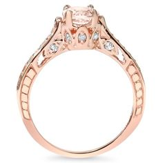 1.25CT Morganite & Diamond Vintage Engagement Ring 14K Rose Gold:Amazon:Jewelry