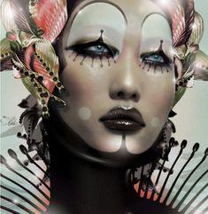 Dramatic Clown Makeup Beauty and Make Up Pictures Clown Makeup, Costume Makeup, Halloween Makeup, Hd Make Up, Make Up Art, Pierrot Clown, Art Visage, Fantasy Make Up, Magazine Cover Design