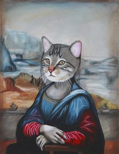 """Mew-na Lisa"" Acrylic on canvas"