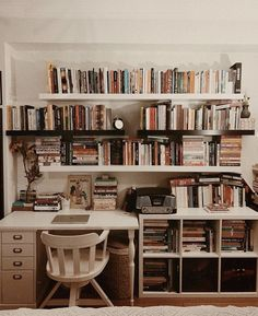 Shared by Lucian. Find images and videos about beautiful, vintage and indie on We Heart It - the app to get lost in what you love. Study Room Decor, Room Ideas Bedroom, Bedroom Decor, Library Bedroom, Bedroom Shelves, Home Library Design, House Design, Bookshelf Inspiration, Aesthetic Room Decor