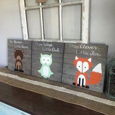 Woodland Creature Nursery Signs, Set of rustic pallet fox pallet…