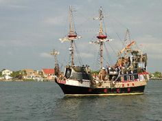 The Black Raven pirate ship sails out of St. Augustine, Florida for daytime and sunset excursions.