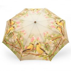 Pocket umbrella printed with finches and apple tree flowers - #Rosemarie Schulz. https://www.rosemarie-schulz.eu/en/umbrellas/149-folding-umbrella-finches-and-apple-tree-flowers.html