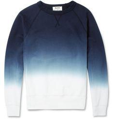 Acne Studios College Dip-Dye Loopback Cotton-Jersey Sweatshirt | MR PORTER