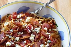 Bacon and Tomato Pasta--one of my boys' favorite dishes
