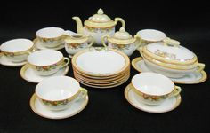 Vintage Lusterware Handpainted Childs Toy Dishes Tea Set Complete Setting for 6 #Unbranded