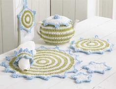 PA976 Wintery Kitchen Set Crochet Pattern - http://www.maggiescrochet.com/wintery-kitchen-set-p-1260.html #crochet #pattern #wintery #seasonal #towel #topper #placemat #kitchen #home #decor