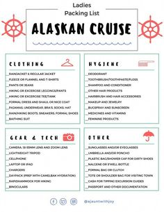 : Ladies Packing List for an Alaskan Cruise! Created by A Jaunt With Joy —who seasonally works onboard cruise ships and has cruised many times to Alaska! Packing For Alaska, Packing List For Cruise, Alaska Travel, Cruise Tips, Cruise Travel, Cruise Vacation, Disney Cruise, Vacation Destinations, Vacation Ideas