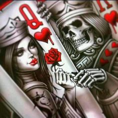 evil queen of hearts tattoo designs Skull Tattoos, Sleeve Tattoos, Tatoos, King Of Hearts Tattoo, Image Tatoo, Og Abel Art, Playing Card Tattoos, Playing Cards, Arte Lowrider