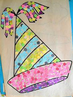 Barret fet amb confetti o cercles recollits de foradar papers de colors.