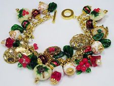 Lampwork Holly and Ivy Christmas Winter Holiday OOAK Handcrafted Charm Bracelet