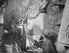 Silver mining: Here photographer Timothy O'Sullivan documents the actvities of the Savage and the Gould and Curry mines in Virginia City, Ne...