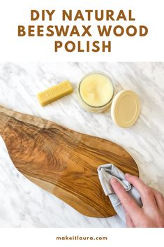 Diy Natural Beeswax Wood Polish - Make your own all natural wood polish and protector with only 2 ingredients. This easy DIY uses beeswax to seal and protect your unfinished wood. Food safe and non toxic. This project also makes a great homemade gift. Homemade Cleaning Products, Cleaning Recipes, Natural Cleaning Products, Beeswax Furniture Polish, Beeswax Polish, Wood Sealer, Wood Wax, Diy Wood Projects, Wood Crafts