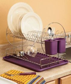 Modern 2 Tier Dish Drying Rack Organizer Eggplant Purple Kitchen Decor Takes up little space. is perfect for my on-campus housing's counter space! Purple Kitchen Decor, Purple Kitchen Accessories, Purple Home Decor, Purple Interior, Kitchen Items, New Kitchen, Kitchen Racks, Kitchen Storage, Kitchen Modern