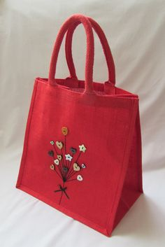 Large Jute Bag - Red with Heart Balloons