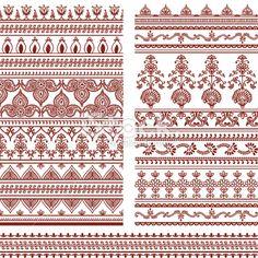Mehndi Tall Borders Royalty Free Stock Vector Art Illustration