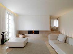 piso + lareira + cores + minimalismo