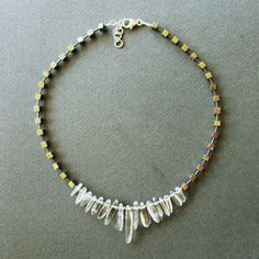 Collar Cristal de roca, Pirita. Cierre de plata