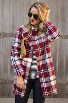 The Plaid Coat.love this coat! Teen Fashion, Love Fashion, Womens Fashion, Fashion Design, Plaid Fashion, Stripes Fashion, Fashion Models, Fashion Trends, Winter Outfits