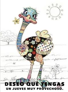 Details about KOOKS by Bug Art - Cute & Quirky Greeting Card - OZZIE OSTRICH - Designed by Jane Crowther and imported from the U., these cards are cute and quirky with a patchwork design. Blank inside for you personal greeting. Applique Patterns, Applique Quilts, Quilt Patterns, Canvas Patterns, Pintura Graffiti, Motifs D'appliques, Art Fantaisiste, Art Mignon, Art Carte