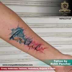 Tattoo by Rohit Panchal at Crazy Addiction Tattoo Baby Tattoos, Watercolor Tattoo, Tatting, Sick, Tattoo Ideas, Addiction, Names, Bobbin Lace, Needle Tatting