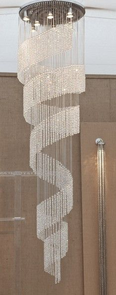 CRYSTAL BEADED SPIRAL LIGHT SCULPTURE - SPIRAL LIGHT SCULPTURES - LIGHTING
