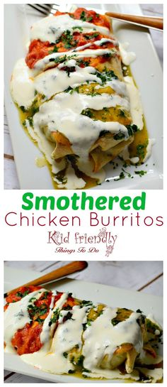 Easy Baked Smothered Chicken with Rice and Avocado Burrito Recipe - Perfect for family dinner or cinco de mayo mexican dinner - www.kidfriendlythingstodo.com