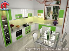 Mẫu tủ bếp đẹp cho không gian tươi mới, hiện đại TBX113