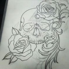 Tattoo Design Drawings, Skull Tattoo Design, Cool Art Drawings, Skull Design, Art Drawings Sketches, Colorful Drawings, Tattoo Sketches, Pencil Art Drawings, Kranz Tattoo