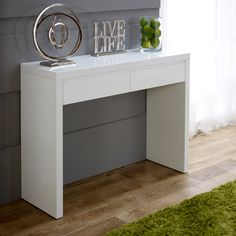 white high gloss 2 drawer dressing console table - Cheap Console Tables