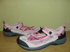 Lands End Womens Pink Mesh Suede Leather Velcro Athletic Walking Shoes SZ 10B #LandsEnd #WalkingHikingTrail #Casual