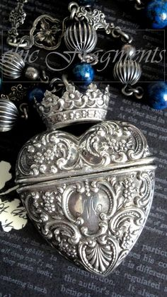 MAJESTY Repousse Crown Heart Locket Necklace. Antique Foster And Bailey. Sterling Silver. Victorian Lapis Lazuli Chain. Artisan Assemblage