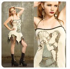 Tshirt Dress - Gypsy Dress - Steampunk Dress
