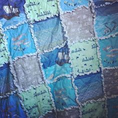 Rag Quilt in Mariner Collection  #watchmydive #quilt #ragquilt #quilting #babyblanket #babyquilt #babyphotography #babyshower #babydecor #nursery #nautical #nauticalbaby #marine #mariner #ocean #whale #ship #boat #waves #messageinabottle #anchors #flannel #keepsake #etsy #etsyshop #etsyseller #etsyfinds #etsybaby #shoplocal #handmade