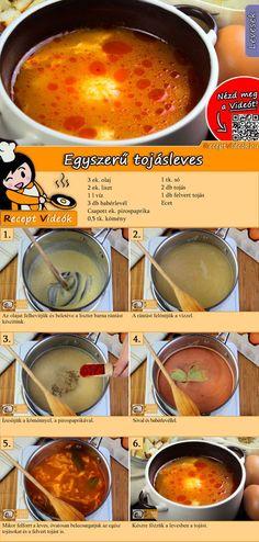 A klasszikus receptekre lehetetlen ráunni. Ilyen az egyszerű tojásleves is! Az Egyszerű tojásleves recept videóját a kártyán levő QR kód segítségével bármikor megtalálod! :) #Egyszerű #Tojásleves #ReceptVideók #Recept #Leves #LevesRecept Hungarian Cuisine, Hungarian Recipes, Soup Recipes, Cooking Recipes, Cinnamon Recipes, Yummy Food, Tasty, Diy Food, Healthy Snacks