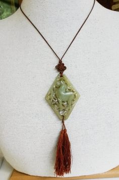 Vtg Art Deco Chinese Carved Jade HORSE Pendant Necklace Tassel Cord #unknown