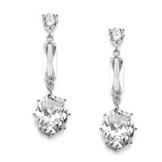 Cubic Zirconia Baguette & Oval Bridal or Prom Dangle Earrings