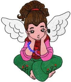 Young cute angel free embroidery design. Machine embroidery design. www.embroideres.com