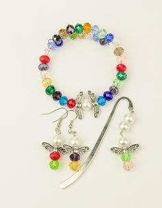 Glass Jewelry Sets: Bracelets & Earrings & Alloy Bookmarks/Hairpins from Pandahall.com #pandahall