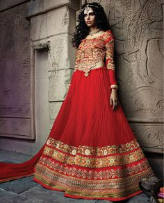 Red embroidered lehenga with heavy panel of multiple borders and work – Rutbaa India