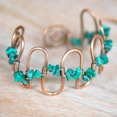 Artisan Copper Bracelet with Malachite, Handmade, Wire Wrapped